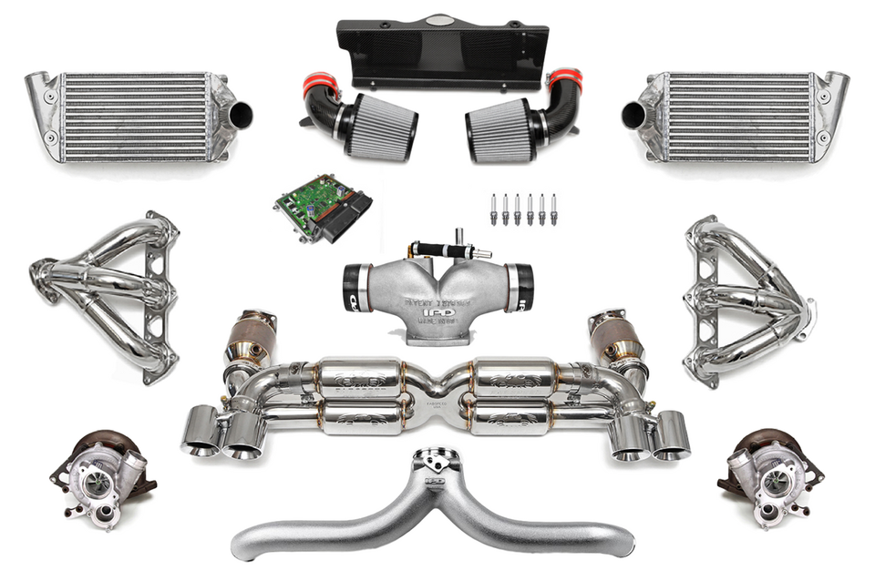 Fabspeed Motorsport, the preeminent source in the Porsche tuning industry, has developed the ultimate no-holds-barred turbo upgrade package for the 997 Porsche Turbo. Porsche 997 Turbo FS-700 Supersport Turbo Package