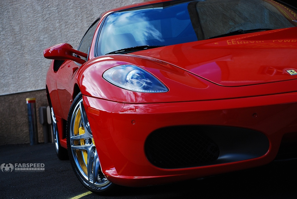 Red Ferrari F430 front end close up